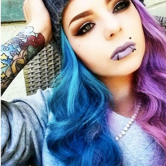Split Dyed Hair - Half And Half Hairstyles. For more ideas, click the picture or visit www.sofeminine.co.uk