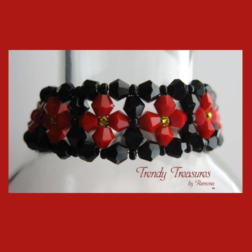Black/Red Opaque Crystals Woven Bracelet,Valentine's Day Special Price,#TrendyTreasuresByRamona