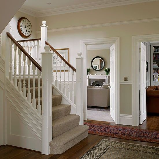 Hallway   Be inspired by this light and bright Edwardian home in southwest London   Hallway A neutral palette and Oriental rugs give this spacious hallway a welcoming feel  Read more at http://www.housetohome.co.uk/house-tour/picture/be-inspired-by-this-light-and-bright-edwardian-home-in-southwest-london#wtI6jX0k60Zt6ATq.99  