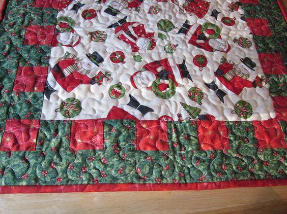 Santa Snowman table runner mini quilt by granniesraggedybags, $25.00