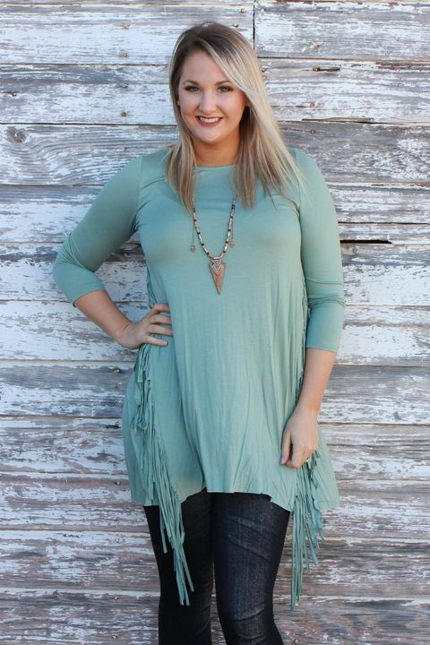 Fringe Frenzy Tunic With 3/4 Length Sleeves ~ Sage ~ Sizes 4-10