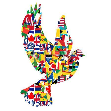 paz mundial: Concepto de paz con la paloma hecha de banderas del mundo Vectores:
