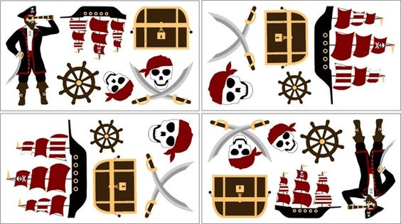 Sweet Jojo Designs Pirate Wall Decal available at TinyTotties.com #tinytotties #kidsroomdecor