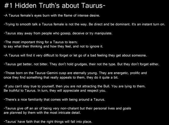 All About Taurus >> Hidden truths about Taurus. Above all, the faith that the