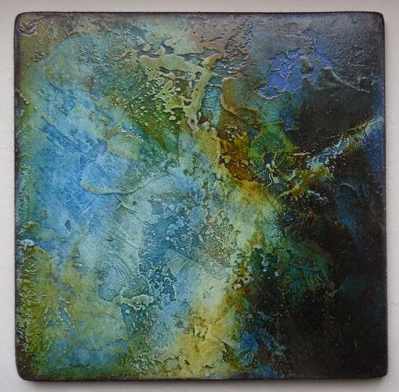 Elisabeth Couloigner / L'ivre de matières et de couleurs: Limbes 2. - Technique : médium enduit, pigment bleu anthraquinone, encres gomme laque.