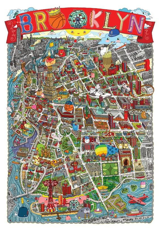 A Colorful and Quirky Map Of NYCs Brooklyn Neighborhood – Brooklyn Tourist Attractions Map