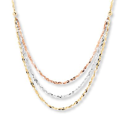 Layered Necklace 10k Tri Color Gold Layered Necklaces Necklace Gold