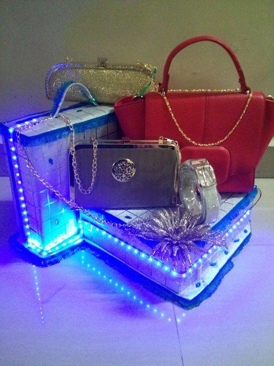 Classy handbag tray#wedding decor by wedding trousseau packing/Aana beautification GRESHA DOSHI