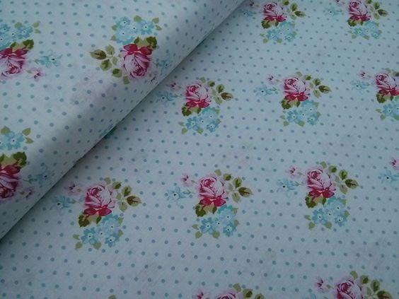 Topos y rosas, 12 €/metro http://www.ratucos.com/es/telas/2373--topos-y-rosas.html