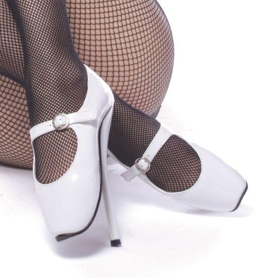 Devious Ballet-08 White Patent Ballet Heels Shoes