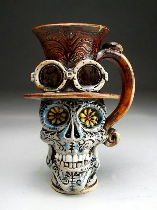Mitchell Grafton - Grafton Pottery - Steampunk / Day Of The Dead Face Mug -  Face Jugs - George