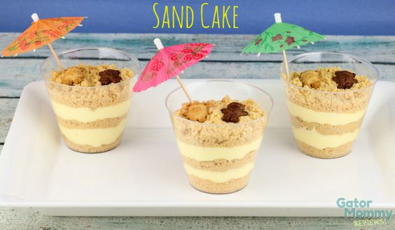 Sand Cake is a twist on the classic dirt cake recipe. It also makes a great dessert for a beach themed party - Gator Mommy Reviews