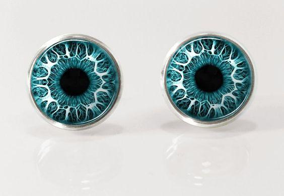 Magic eye post earrrings, stud earrings, nature jewelry, glass earrings, picture earrings by Glassfulldreams  £7.23+