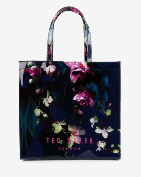 Large Fuchsia Floral shopper bag - Dark Blue   Bags   Ted Baker UK