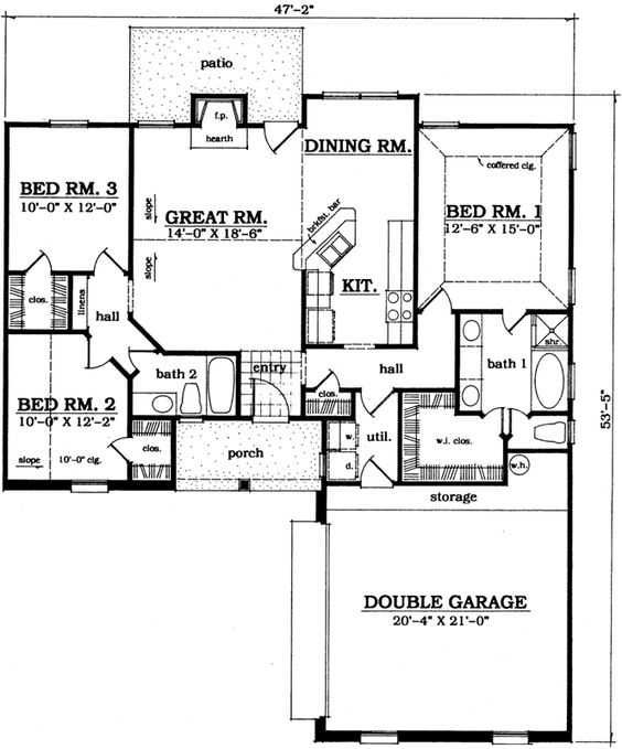 traditional style house plans 1366 square foot home 1 story 3 bedroom and 2 bath 2 garage stalls by monster house plans plan 75 156 pinterest