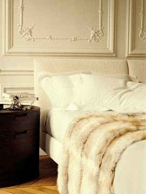 Decadent: Interior Design, Bedside Table, 3/4 Beds, Faux Fur Throw, Bedroom Design, White Bedding, Fur Blanket, White Bedroom