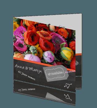 Oranje bloemen uitnodiging 40 jarig huwelijk feest