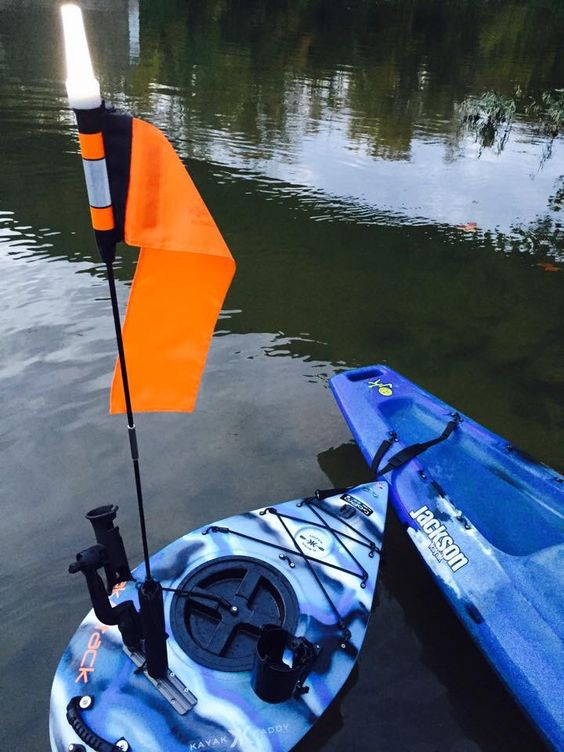 Mount a safety flag and navigation light on your Kayak Kaddy.