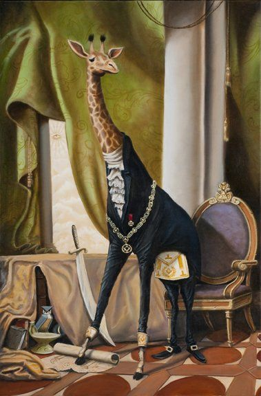 An homage to the giraffe painting that hangs in the addams for The addams family living room