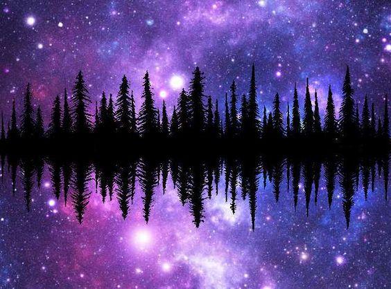 galaxy treeline silhouette universe watercolor trees