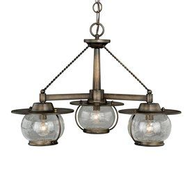 Cascadia Lighting Jamestown 24-In 3-Light Parisian Bronze Barn Seeded