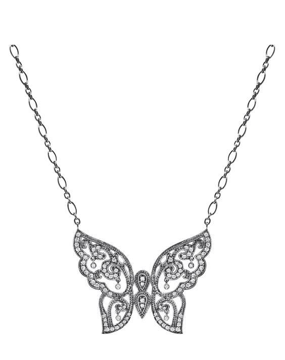 Baiser Papillon Necklace black gold and white diamonds www.stoneparis.com