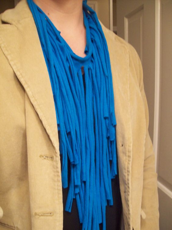 Recycled Fringe Tshirt Scarf by StuffByMichelle on Etsy, $8.00