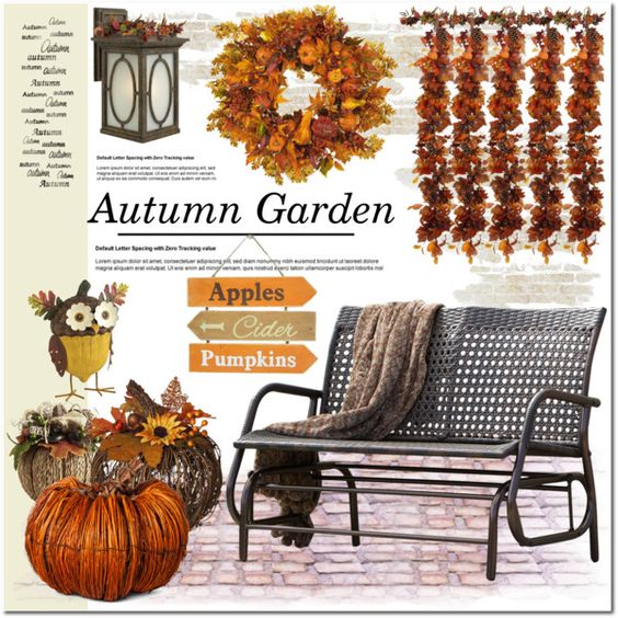 Autumn Garden Decor by asteroid467 on Polyvore featuring interior, interiors, interior design, home, home decor, interior decorating, Hinkley Lighting, Nearly Natural, Smith & Hawken and Harvest