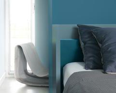 Creá un dormitorio relajante con tonos verde azulado + colores y productos