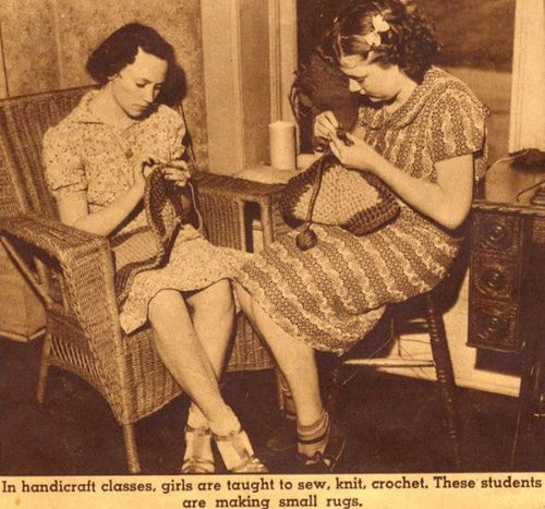 student girls crocheting rugs by spiden001, via Flickr