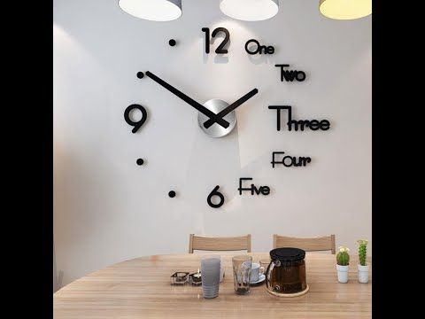 Details about  /Large DIY 3D Frameless Number Wall Clock Mirror Sticker Home Office Room Decor