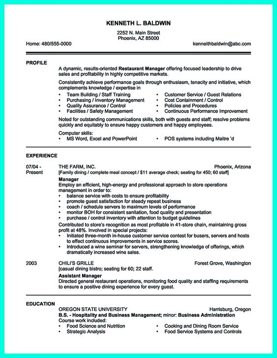 Your catering manager resume must be impressive To make - resume template for hospitality