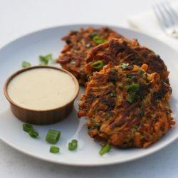 Sweet Potato & Bacon Latkes with Honey Mustard Sauce