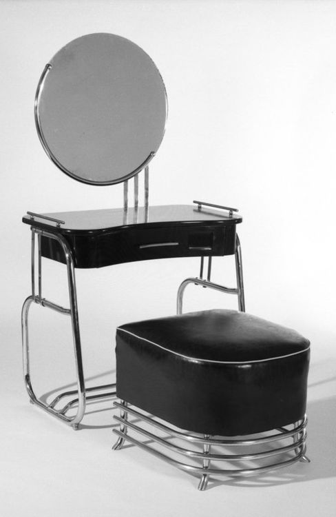 Vanity and Stool c. 1934 Designer: Kem Weber (American, born Germany, 1889-1963) Manufacturer: Lloyd Manufacturing Company Brooklyn Museum