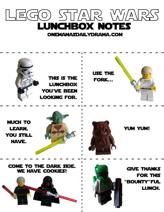 LEGO Star Wars lunch box notes | free printable from One Mama's Daily Drama: