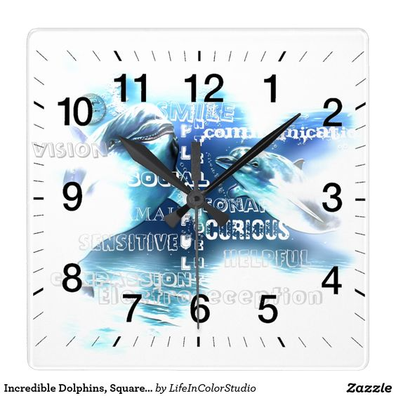 Incredible Dolphins, Square Wall Clock