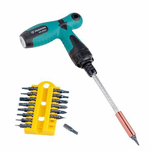 17pcs T Grip Type Handle Ratchet Screwdriver Set Star Head Flat Head Nut Drivers Hex Socket Wrench Angle Wrenches Screwdriver Set Hand Tool Sets Screwdriver