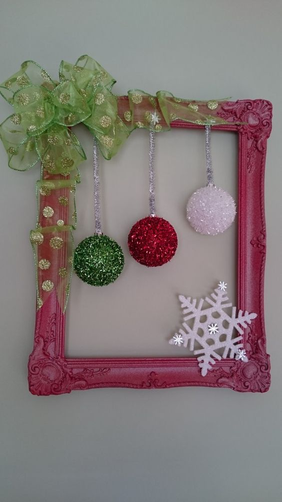 Christmas Picture Frame Wreath Door Wreath By