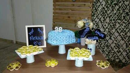 Decor azul e amarelo simples @decoracaofestasafetivas