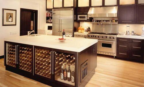 Kitchen with island table storage