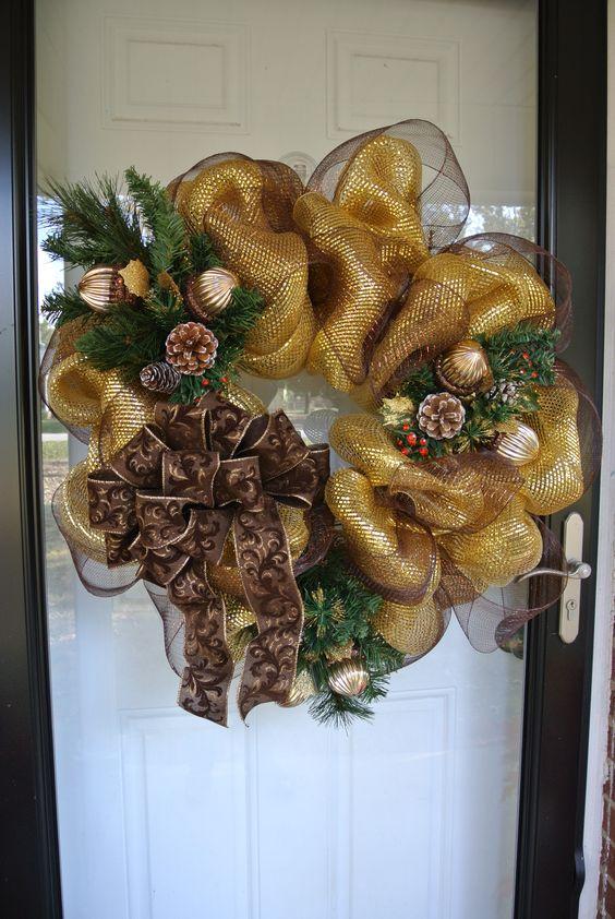 Golden Winter deco mesh wreath