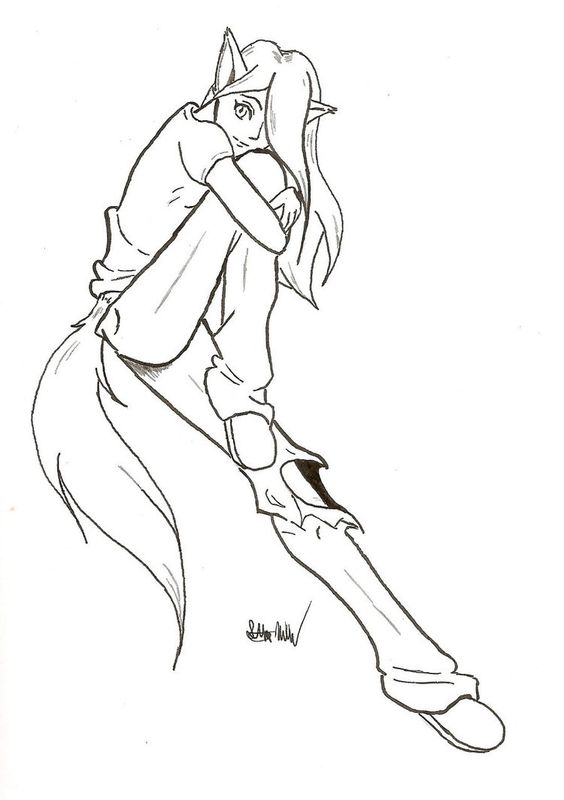 Wolf Tail Drawing Sket...