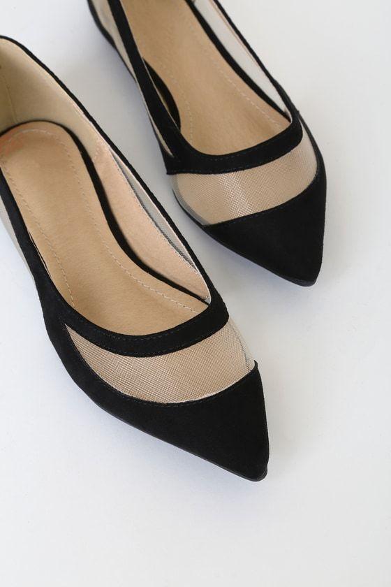 Elisabeth Black Suede Pointed Toe Flats