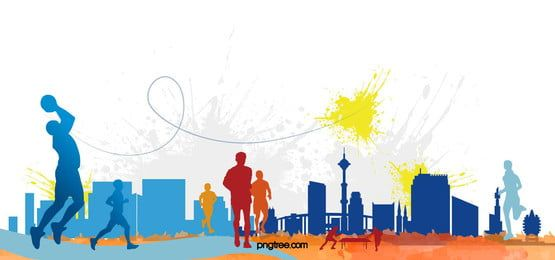 Colorful People Silhouette Sports Meeting Template Poster Background Material Background Images Wallpapers Silhouette Art Background Images