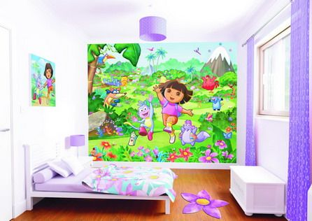 Purple kids bedrooms kid bedrooms and dora the explorer for Dora themed bedroom designs