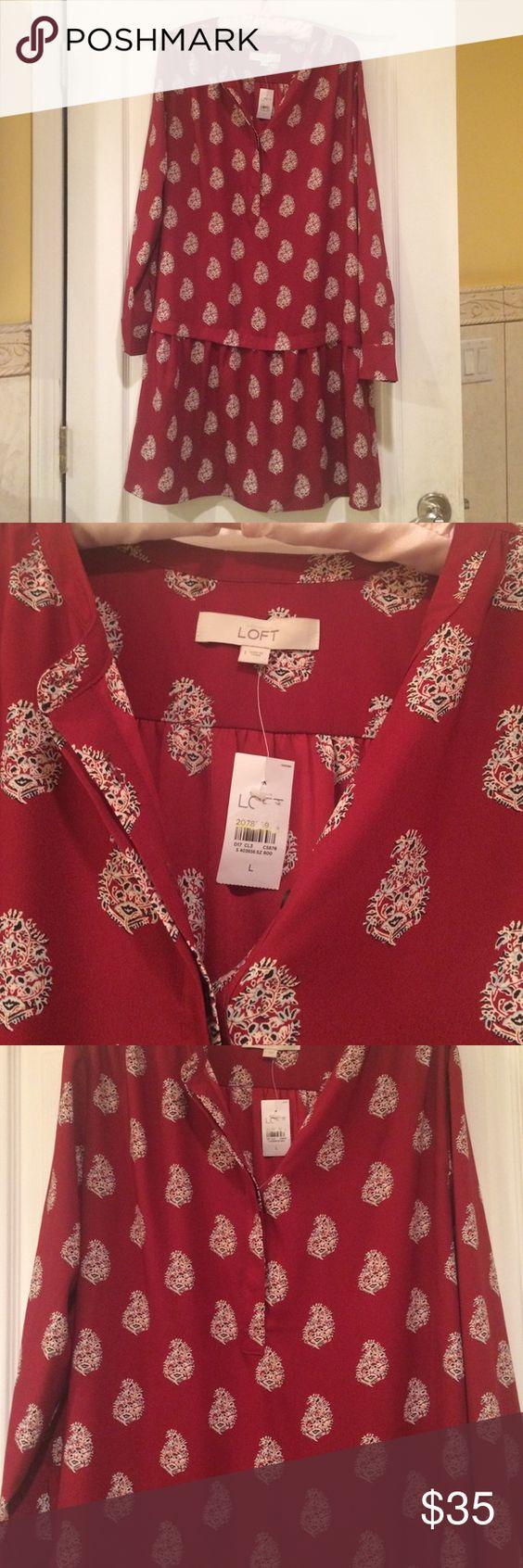 Loft Crimson shirt dress NWT large Crimson red with cream paisley design. LOFT Dresses Midi