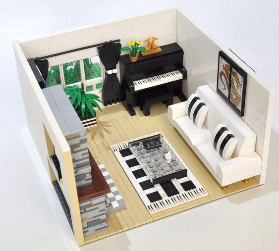 Woonkamer van binnen van lego maken