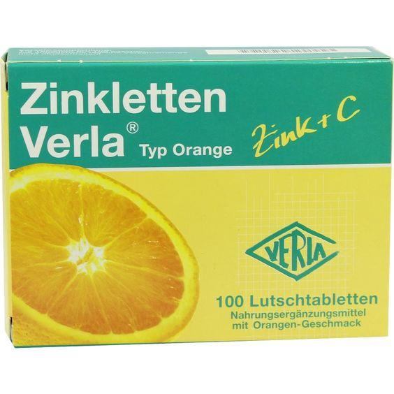 ZINKLETTEN Verla Orange Lutschtabletten:   Packungsinhalt: 100 St Lutschtabletten PZN: 09704820 Hersteller: VERLA-PHARM Arzneimittel…