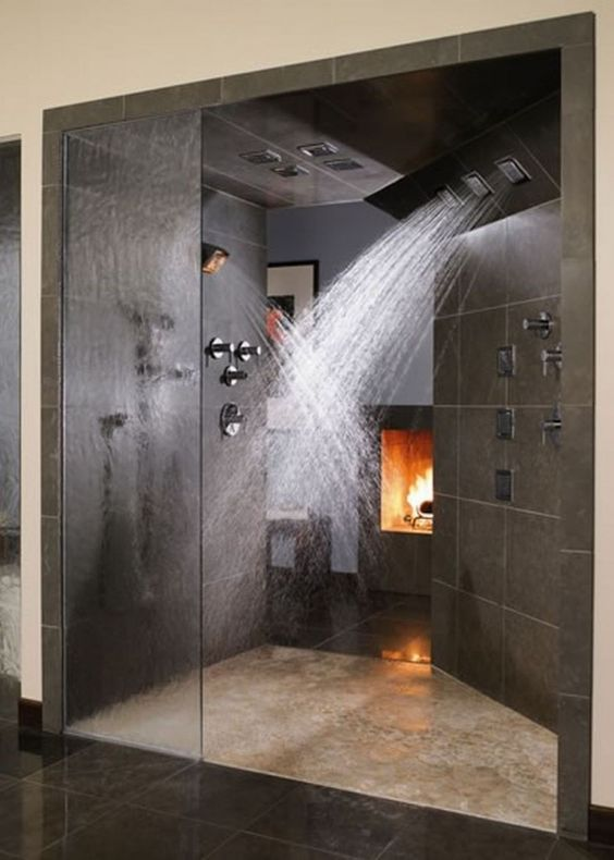 Futuristic Rainfall Shower Head Mixed With Doorless Shower