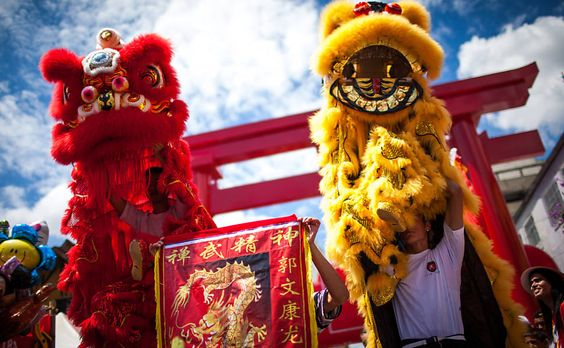 Chinese New Year in Liberdade, neighborhood in Sao Paulo with the largest Japanese community outside of Japan.